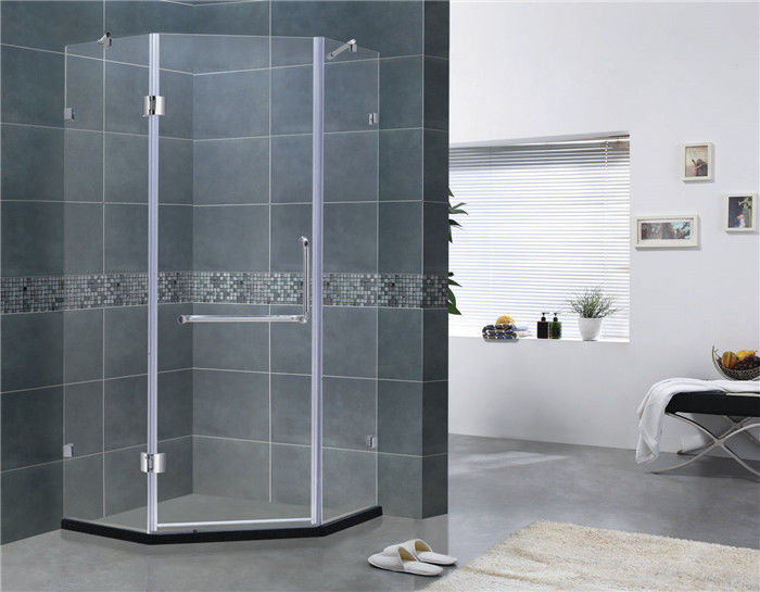 Simple Diamond Shape Frameless Hinged Shower Door Clear Glass For Home / Villa