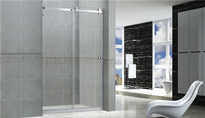 Professional 1400x2000 Sliding Glass Shower Doors With Anti - Blast Wired Glass