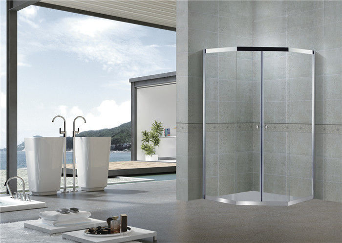 CE Certification Corner Shower Enclosures Sliding Glass Diamond With Round Handle