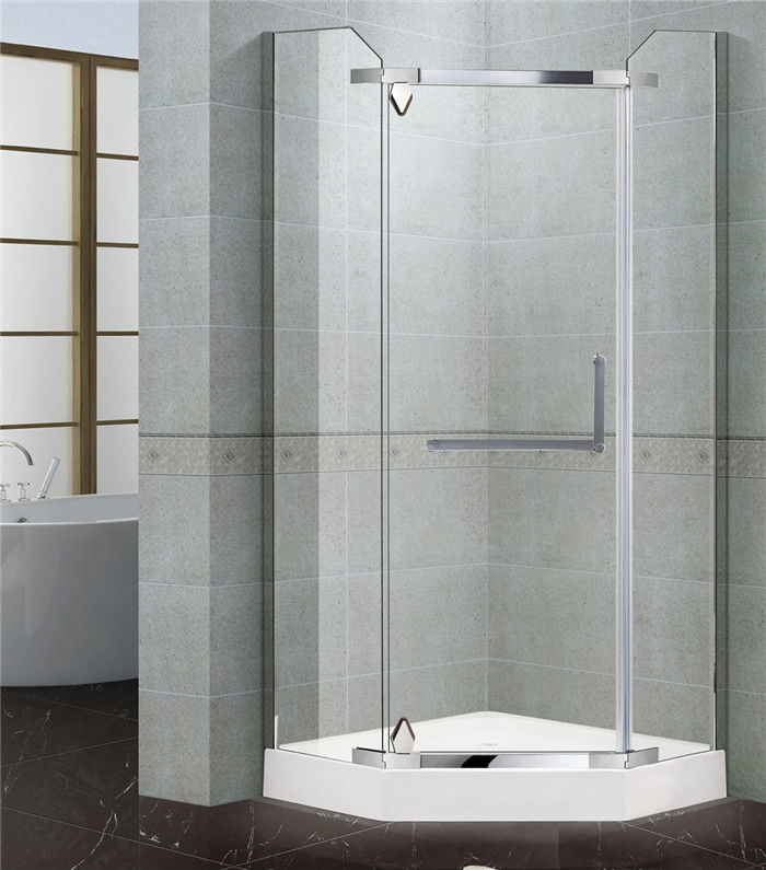 Tempered Glass Single Pivot Shower Enclosure Stainless Steel With Frames Diamond Shape