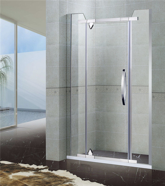 Two Fixed Stainless Steel Pivot Shower Screen With Corner Cut Tempered Glass