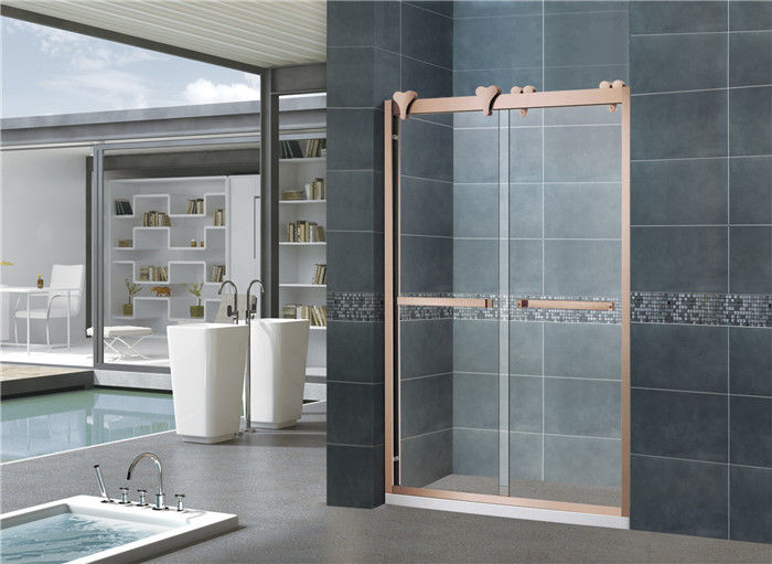 Rose Gold 10MM Tempered Nano Sliding Glass Shower Screens With Big Hanging Wheels