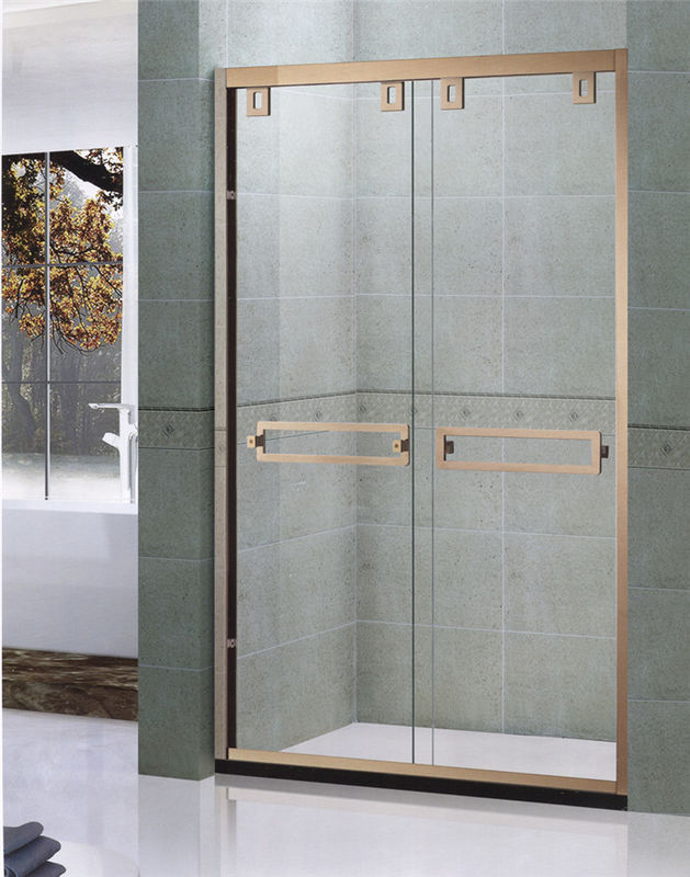 Rose Gold SGCC Certification Double sliding Shower Doors With Double ...