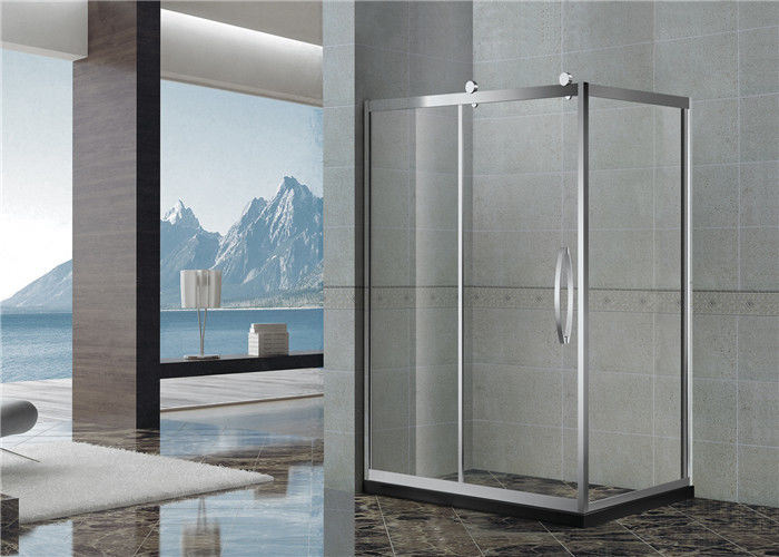 Big Wheels Rectangle Shower Enclosure Stainless Steel Sliding with Stainless Steel Handle