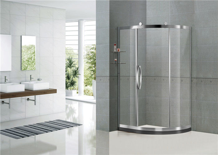 Mirror Color Sliding Offset Shower Enclosure Clear / Printed Tempered Glass CE Certification