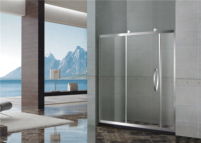 Straight One Sliding Quadrant Shower Cubicles / Homebase Shower Screen With Big Wheels