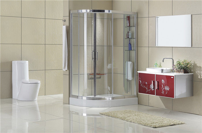 Clear Tempered Glass D Shaped Shower Enclosure Shelf Aluminum Alloy For Home