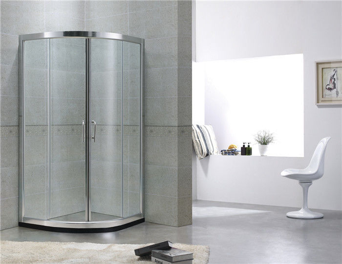 Customized Double Sliding Curved Shower Partition With Bright Silver Finished Aluminum Profiles