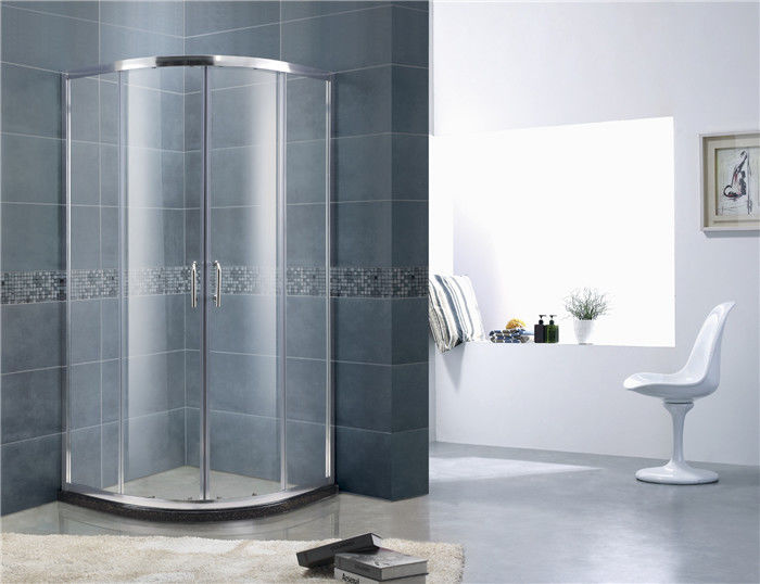 Round 6 mm Tempered Glass Shower Doors Sliding Chromed Profiles with Stainless Wheels