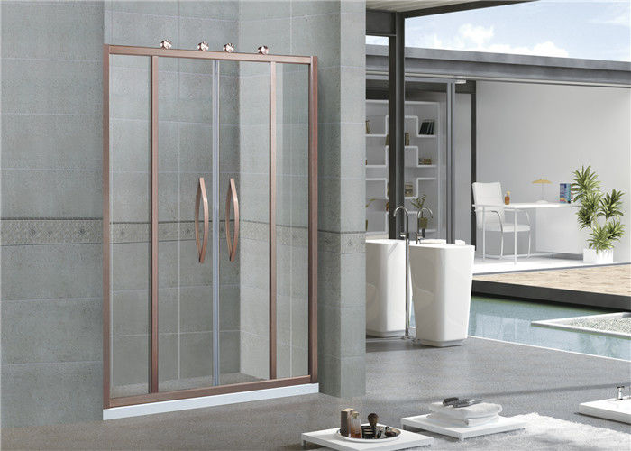 Rose Gold Glass Shower Screen Octagonal Wheel Inline Double Sliding SGCC Certification