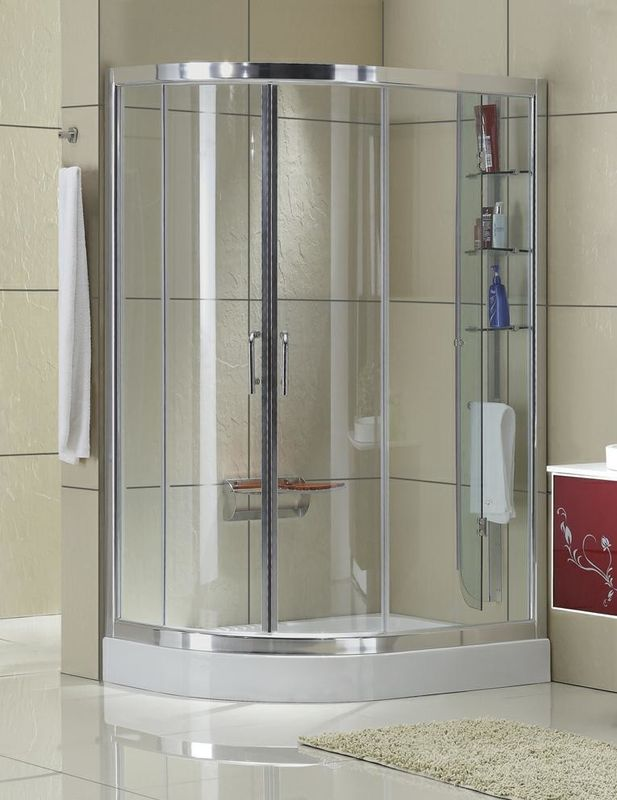 Matte Sliver D Shaped Shower Enclosure Clear Tempered Glass Aluminum ...
