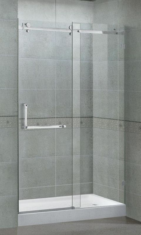 10MM Self - Cleaning Frameless Glass Shower Doors Red Bronze Stainless Steel Accessories
