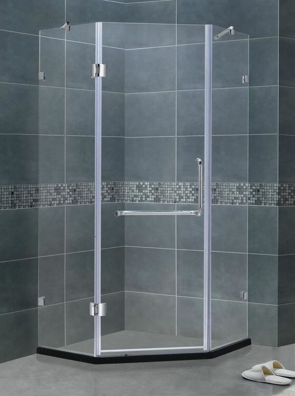 Simple Diamond Shape Frameless Hinged Glass Tub Doors Clear Glass With Support Bar