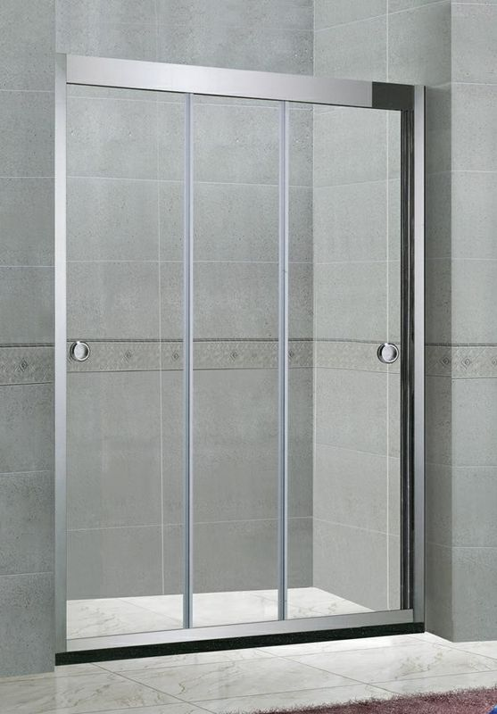 Stainless Steel Inline Shower Enclosures Three Moving Doors Mirror Finished With Frames