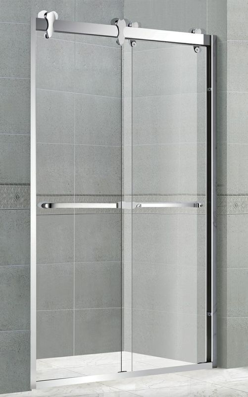 Movable Glass Corner Shower Enclosures 10MM Clear Tempered With Big Hanging Wheels
