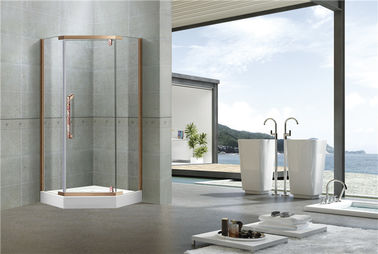 China Red Bronze Stainless Steel Pivot Shower Doors With Nano Self - Cleaning Tempered Glass factory