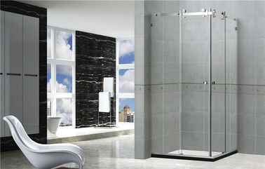 Frameless Transparent Glass Square Shower Enclosures Corner Enter For Home / Hotel