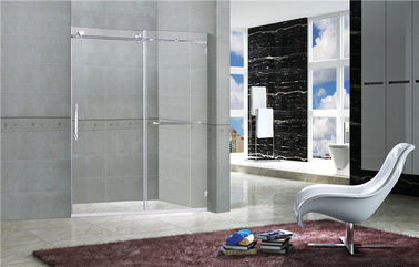 Clear / Printed Tempered Frameless Sliding Glass Doors With Stainless Steel Towel Bar