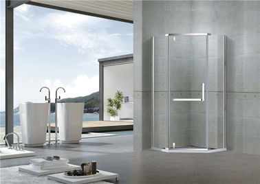 China Mirror Color Pivot Shower Doors Diamond Type Clear Tempered Glass L Shape Handle factory