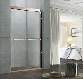 Clear / Frosted Tempered Glass Shower Enclosures Rose Gold Double Moving Door for Home