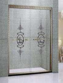 Customized Green Bronze Sliding Glass Shower Doors Printed in Stainless Steel Profiles