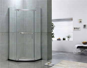 China Mirror Color Pivot Shower Enclosure Diamond Shape Tempered Glass Shower Doors factory