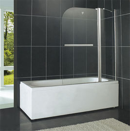 China Shiny Silver Pivot Shower Doors 6MM Tempered Glass With One Fixed Glass for Bathtub factory