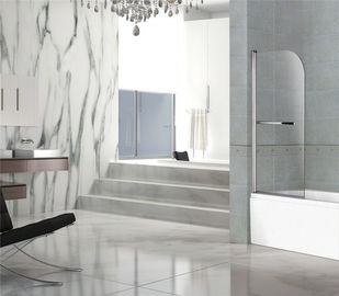 China Bright Silver 6MM Adjustable Pivot Shower Door Tempered One Moving Easy Installation factory