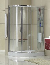 Matte Sliver D Shaped Shower Enclosure Clear Tempered Glass Aluminum Alloy For Villa