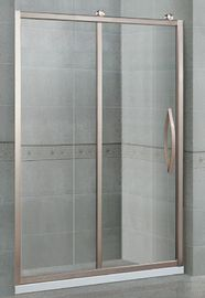 Inline Sliding Aluminum Alloy Glass Shower Doors With Rose Golden Frames and Big Hanging Wheels