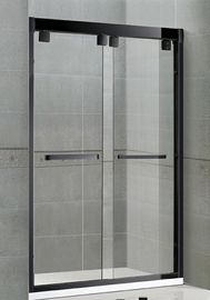 Matte Black Double Sliding Glass Shower Screen Aluminum Alloy Inline Visible Glass Clips