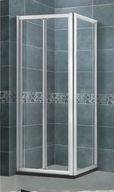 5 / 6 MM Glass Folding Shower Screen  Square Chromed Aluminum Alloy Profiles SGCC Certification