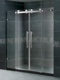 SGCC Certification Double Sliding Shower Enclosures Tempered Glass Stainless Steel Handle