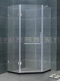 Frameless 8 / 10 MM Glass Shower Screens Clear Tempered With Stainless Steel Two Support Bars