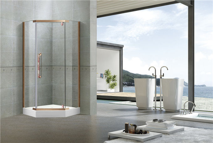 Red Bronze Stainless Steel Pivot Shower Doors With Nano Self - Cleaning Tempered Glass